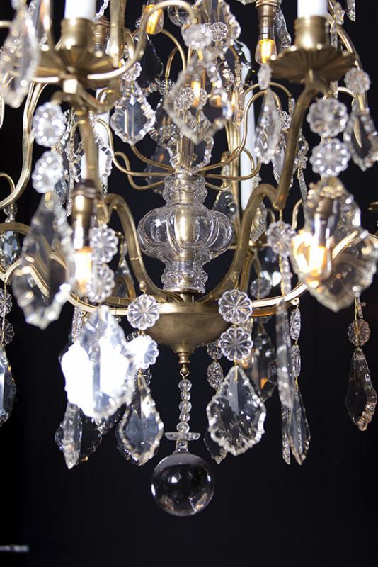 Antieke Franse lustre-a-cage kaarsen kroonluchter met Led