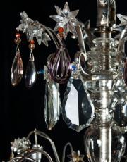 Grosser silberner kristallener Kronleuchter 'Vogelkaefig' aus Frankreich