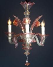Murano pink vintage chandelier