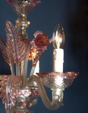 Murano roze vintage kroonluchter