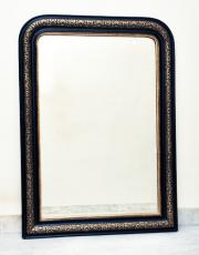 Antieke Franse zwarte spiegel