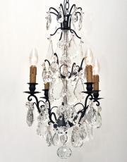 Zwarte antieke kristallen kroonluchter uit Frankrijk