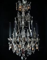 Zilveren antieke Franse kristallen lustre a cage
