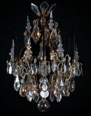 Franse antieke kristallen lustre a cage met poignards