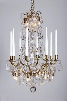 Antiker vergoldeter Kerzen Kronleuchter aus Frankreich