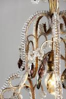 Italiaanse hal lamp lantaarn kroonluchter met paars gekleurde pegels